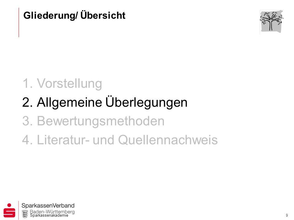 Sparkassenakademie 9 1.Vorstellung 2.Allgemeine Überlegungen 3.Bewertungsmethoden 4.Literatur- und Quellennachweis Gliederung/ Übersicht