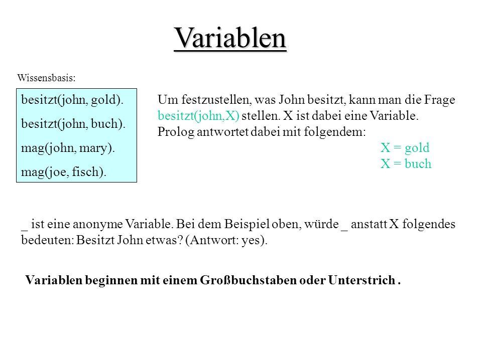 Variablen besitzt(john, gold).besitzt(john, buch).
