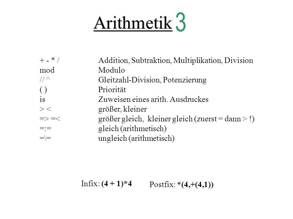 Arithmetik + - * / Addition, Subtraktion, Multiplikation, Division modModulo // ^Gleitzahl-Division, Potenzierung ( )Priorität isZuweisen eines arith.