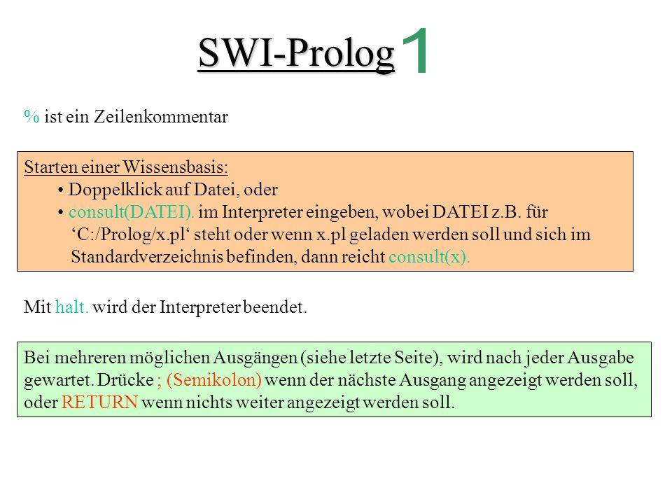 SWI-Prolog % ist ein Zeilenkommentar Starten einer Wissensbasis: Doppelklick auf Datei, oder consult(DATEI).