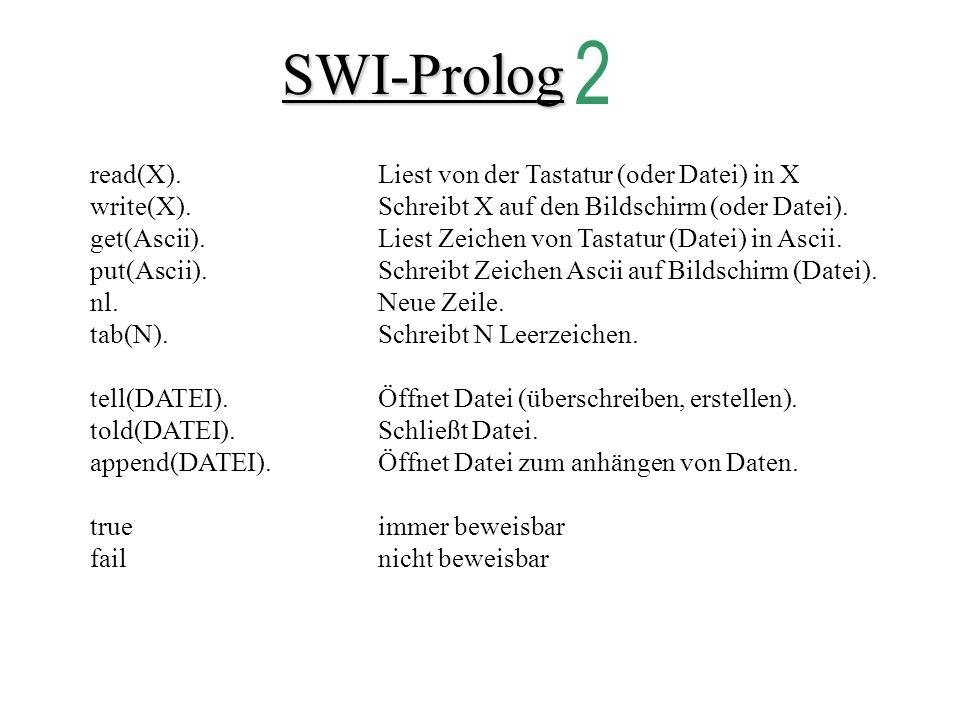 SWI-Prolog read(X).Liest von der Tastatur (oder Datei) in X write(X).Schreibt X auf den Bildschirm (oder Datei).