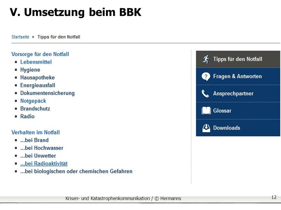 V. Umsetzung beim BBK Krisen- und Katastrophenkommunikation / © Hermanns 12