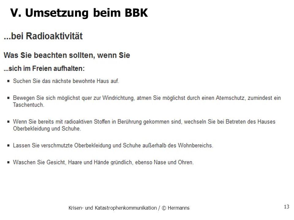 V. Umsetzung beim BBK Krisen- und Katastrophenkommunikation / © Hermanns 13