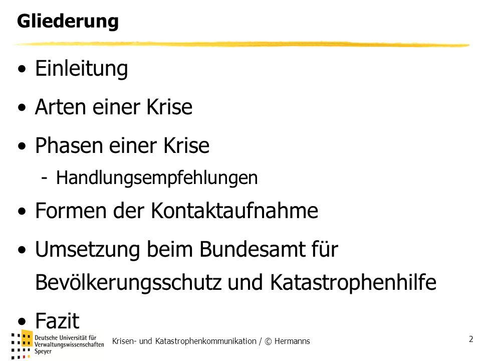Krisen- und Katastrophenkommunikation / © Hermanns 2 Gliederung Einleitung Arten einer Krise Phasen einer Krise -Handlungsempfehlungen Formen der Kont