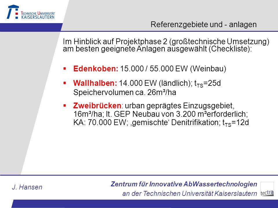 Zentrum für Innovative AbWassertechnologien an der Technischen Universität Kaiserslautern J. Hansen Referenzgebiete und - anlagen Im Hinblick auf Proj