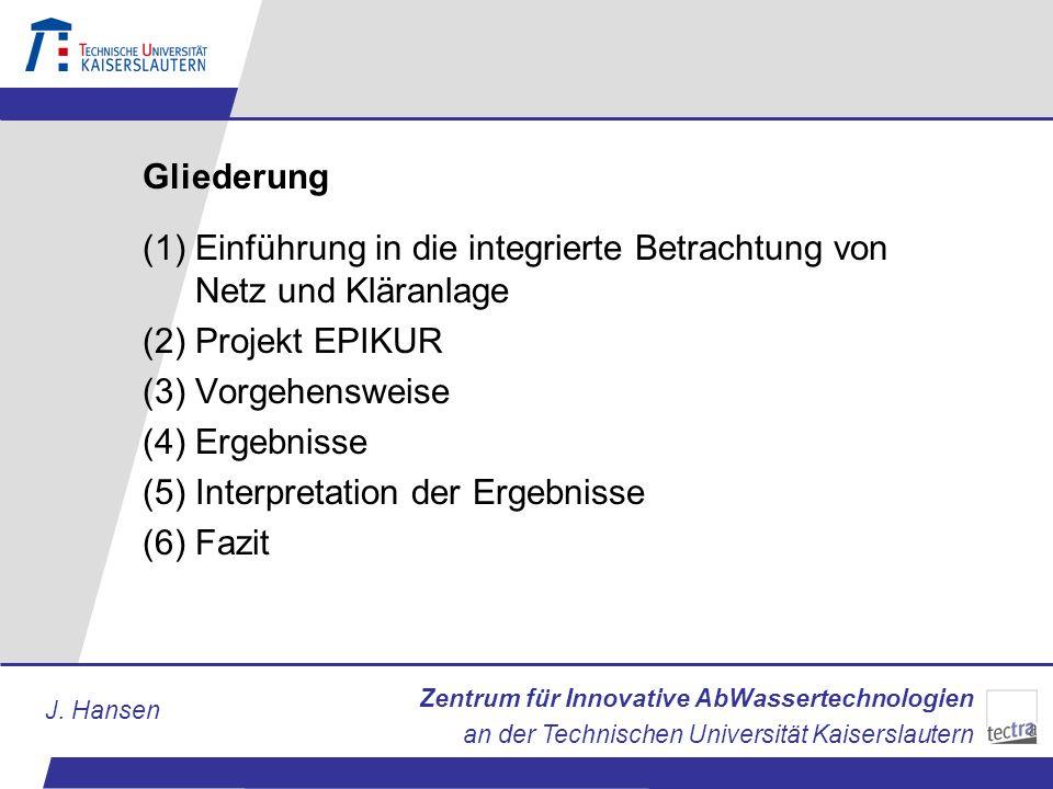 Zentrum für Innovative AbWassertechnologien an der Technischen Universität Kaiserslautern J. Hansen Gliederung (1)Einführung in die integrierte Betrac