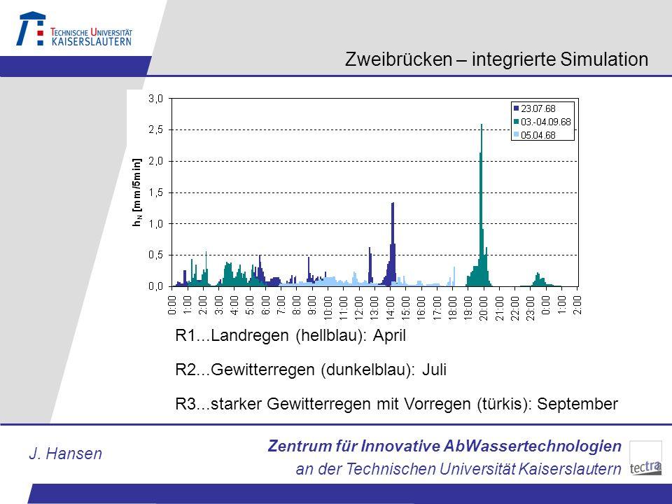 Zentrum für Innovative AbWassertechnologien an der Technischen Universität Kaiserslautern J. Hansen Zweibrücken – integrierte Simulation R1...Landrege