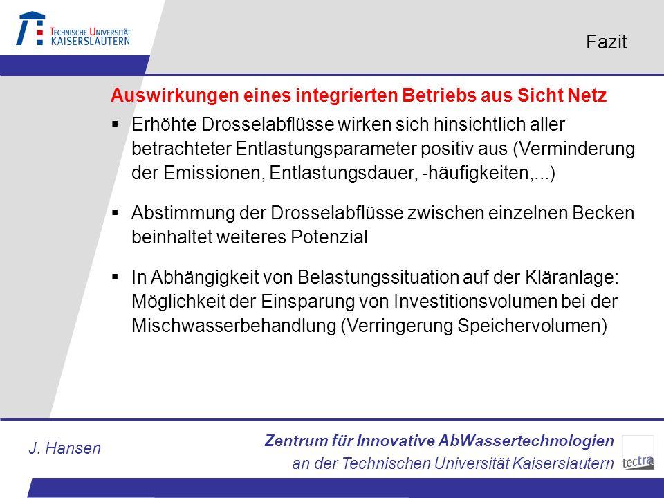 Zentrum für Innovative AbWassertechnologien an der Technischen Universität Kaiserslautern J. Hansen Fazit Auswirkungen eines integrierten Betriebs aus