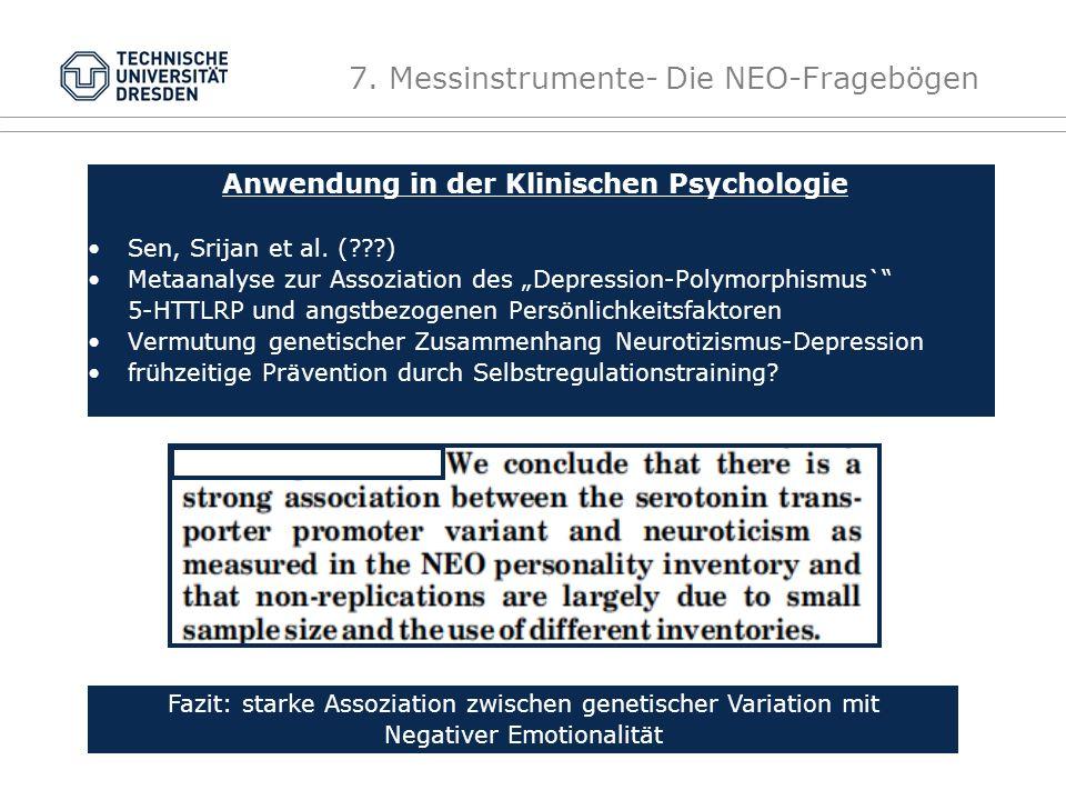 7.Messinstrumente- Die NEO-Fragebögen Anwendung in der Klinischen Psychologie Sen, Srijan et al.