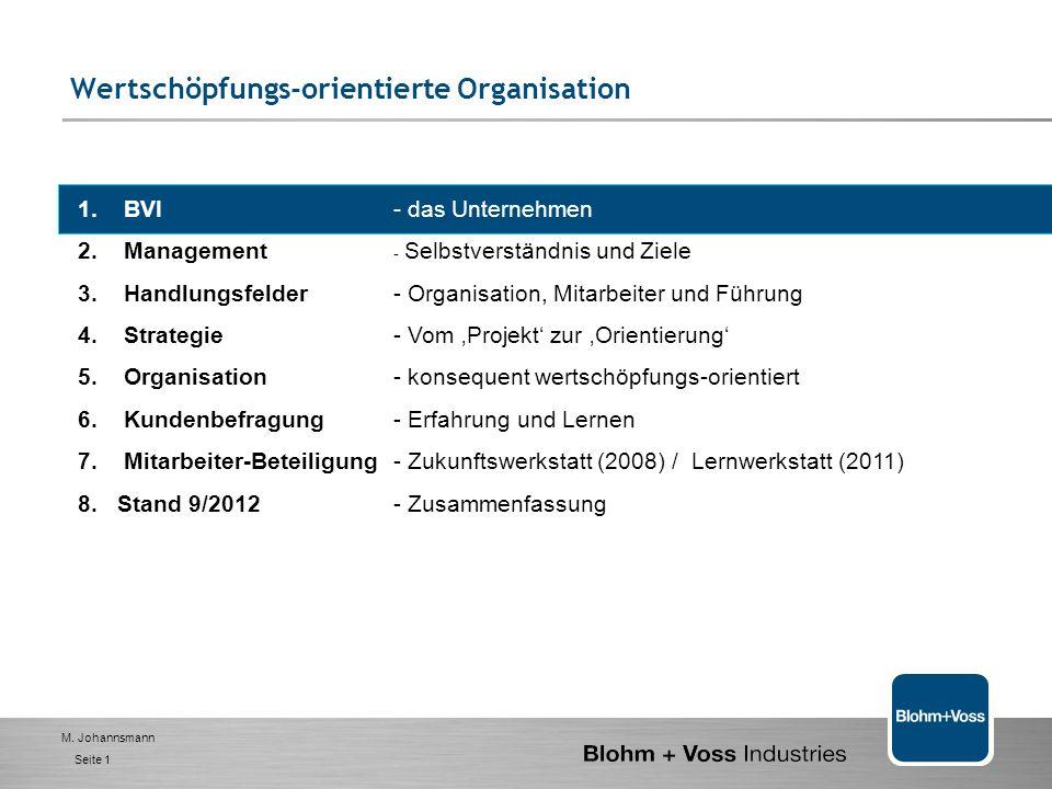 M.Johannsmann Seite 1 Wertschöpfungs-orientierte Organisation 1.