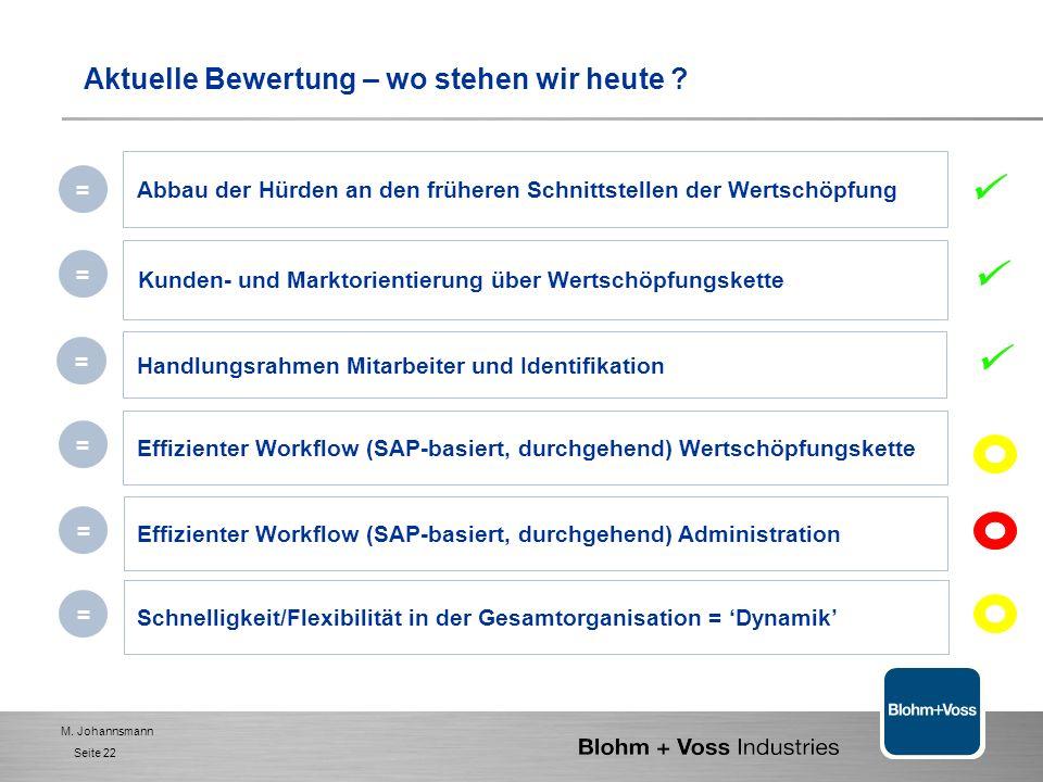 M. Johannsmann Seite 21 Wertschöpfungs-orientierte Organisation 1. BVI- das Unternehmen 2. Management - Selbstverständnis und Ziele 3. Handlungsfelder