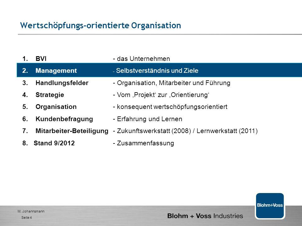 M. Johannsmann Seite 3 Blohm + Voss Industries GmbH (BVI) – das Unternehmen WellenkomponentenFlossen-StabilisatorenBilgenwasserentöler