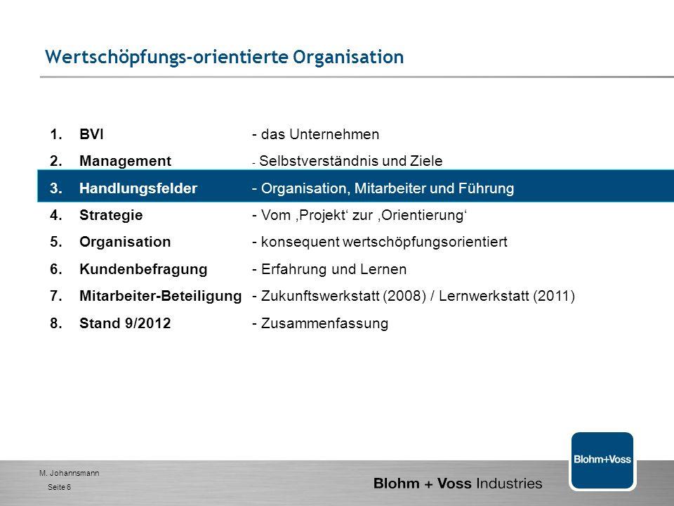 M. Johannsmann Seite 5 Leadership Ownership Teamwork Internal/Interfaces Ausrichtung Workflow/ Datenorganisation Kunden- orientierung Schnelligkeit Fl