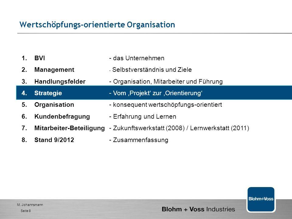 M. Johannsmann Seite 7 Stärken: 1. Hohe Motivation der Belegschaft 2. Ausgeprägte Kollegialität, sofern in Kontakt 3. MA an der Kundenfront hoch kompe