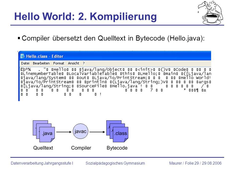 Hello World: 2. Kompilierung Compiler übersetzt den Quelltext in Bytecode (Hello.java): Sozialpädagogisches GymnasiumMaurer / Folie 29 / 29.08.2006Dat
