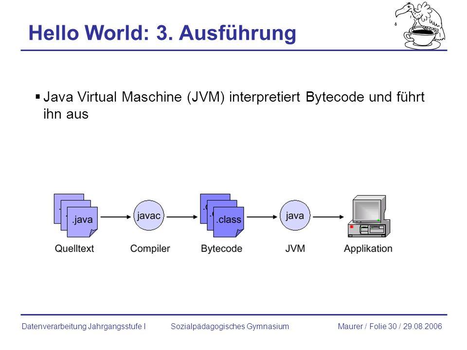 Hello World: 3. Ausführung Java Virtual Maschine (JVM) interpretiert Bytecode und führt ihn aus Sozialpädagogisches GymnasiumMaurer / Folie 30 / 29.08