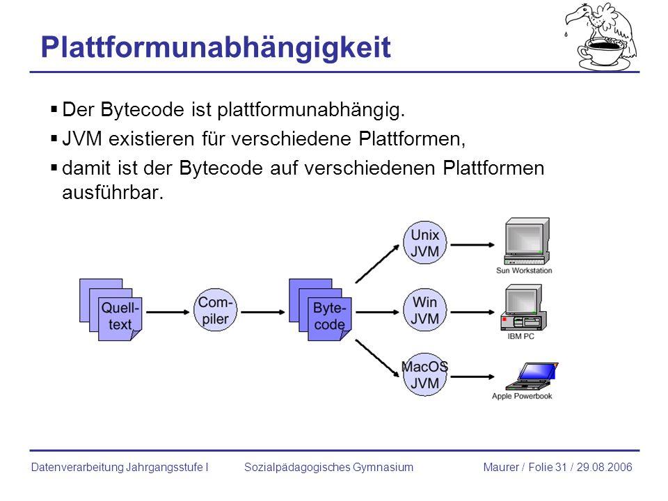 Plattformunabhängigkeit Der Bytecode ist plattformunabhängig. JVM existieren für verschiedene Plattformen, damit ist der Bytecode auf verschiedenen Pl