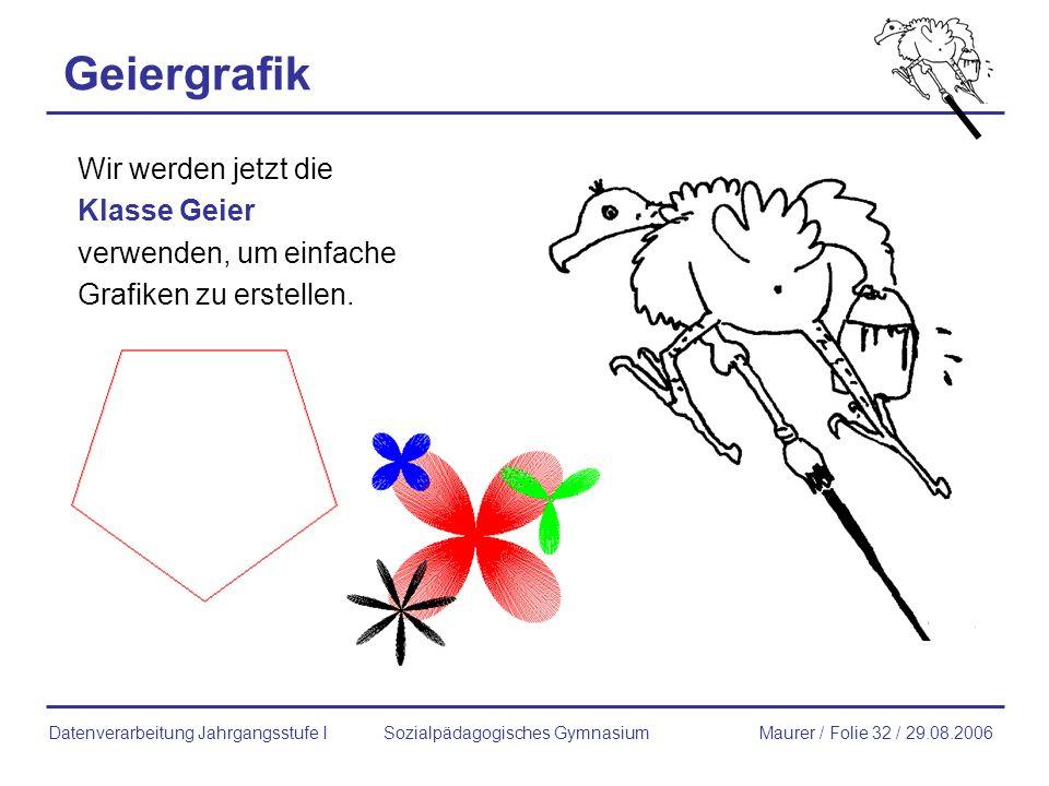 Geiergrafik Wir werden jetzt die Klasse Geier verwenden, um einfache Grafiken zu erstellen. Sozialpädagogisches GymnasiumMaurer / Folie 32 / 29.08.200