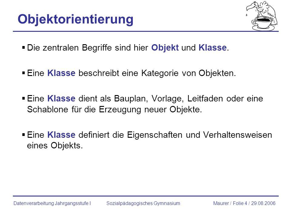 Beispiel: Kaffeemaschine Sozialpädagogisches GymnasiumMaurer / Folie 5 / 29.08.2006Datenverarbeitung Jahrgangsstufe I Objektorientierung Quelle: Wilcek: Schule und Informatik 2004 und Bock; Schäfer: Java- Einführung.