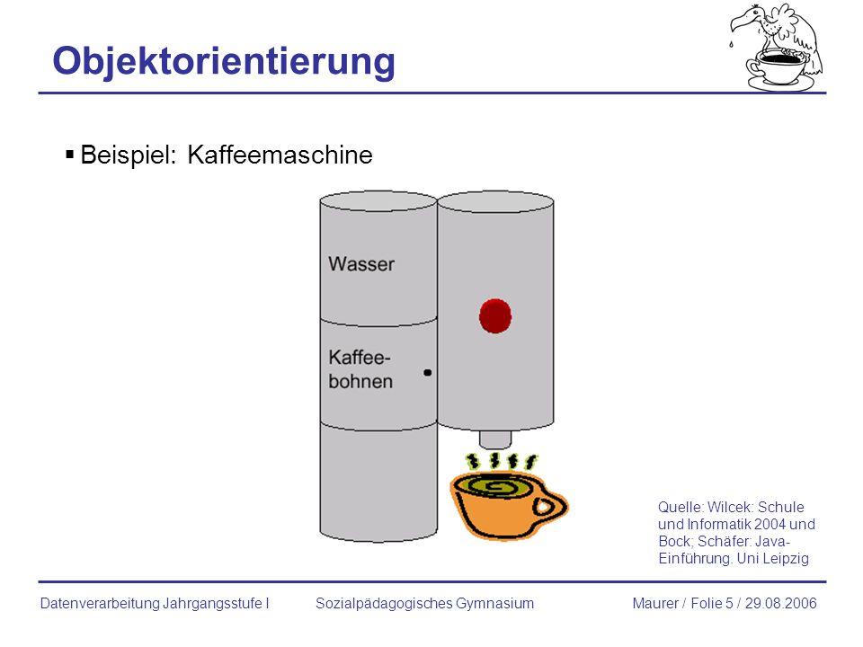 Kaffeemaschine wasserstand bohnenvorrat herstellername seriennummer zeigeBohnenvorrat() zeigeWasserstand() fuelleBohnen() fuelleWasser() erzeugeTasseKaffee() zeigeHerstellername() zeigeSeriennummer() Klassen und Objektdiagramm Sozialpädagogisches GymnasiumMaurer / Folie 16 / 29.08.2006Datenverarbeitung Jahrgangsstufe I Jura S50: Kaffeemaschine wasserstand: 4 bohnenvorrat: 22 herstellername: Jura seriennummer: m1: Kaffeemaschine Wasserstand: 8 bohnenvorrat: 5 herstellername: Bosch seriennummer: masch3: Kaffeemaschine Wasserstand: 11 bohnenvorrat: 8 herstellername: Bosch seriennummer: S11753 Klasse Objekte (Instanzen der Klasse)