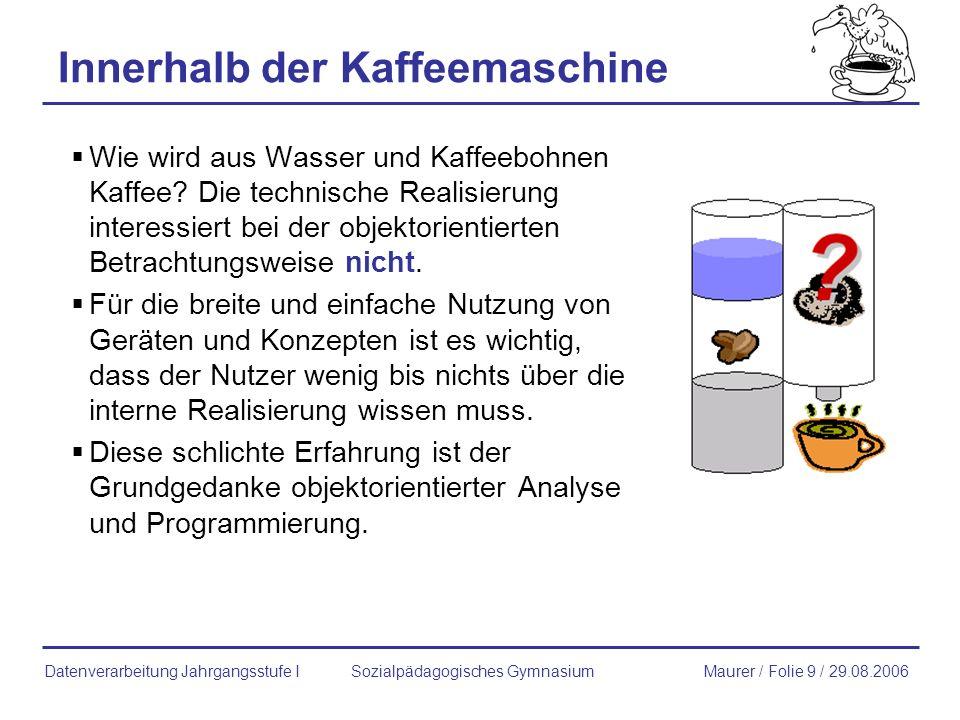 members Klasse: Kaffemaschine Sozialpädagogisches GymnasiumMaurer / Folie 20 / 29.08.2006Datenverarbeitung Jahrgangsstufe I Statische Methoden zeigeZaehler() Instanz-Methoden zeigeBohnenvorrat() zeigeWasserstand() fuelleBohnen() fuelleWasser() erzeugeTasseKaffee() zeigeHerstellername() zeigeSeriennummer() Statische Variablen zaehler Instanz-Variable wasserstand bohnenvorrat herstellername seriennummer Felder Methoden members Attribute Verhalten ObjekteKlasse