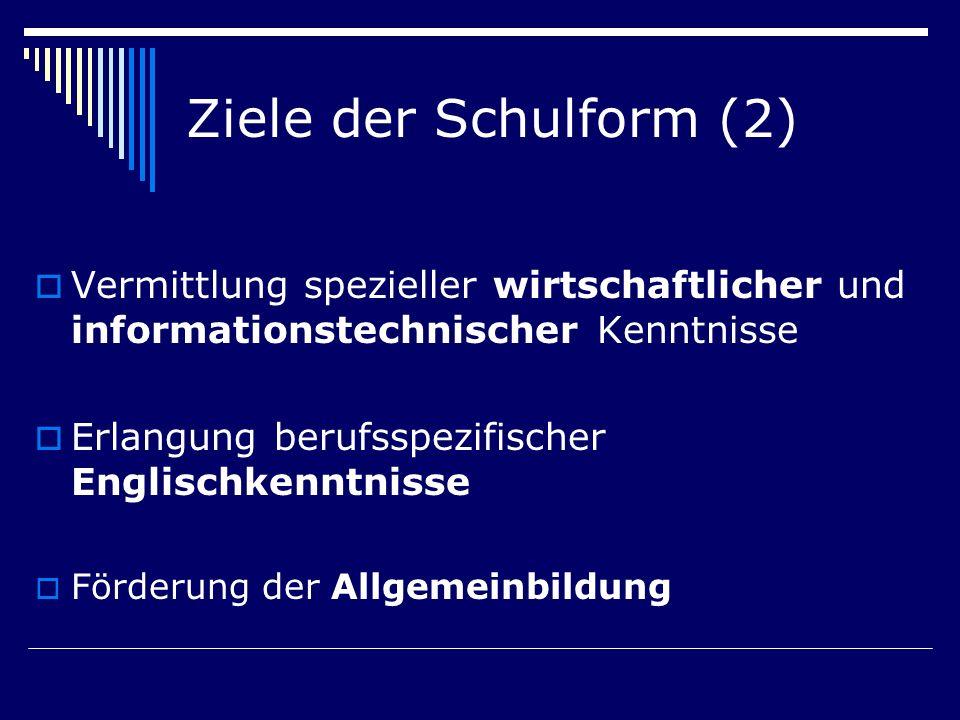 Ziele der Schulform (2) Vermittlung spezieller wirtschaftlicher und informationstechnischer Kenntnisse Erlangung berufsspezifischer Englischkenntnisse