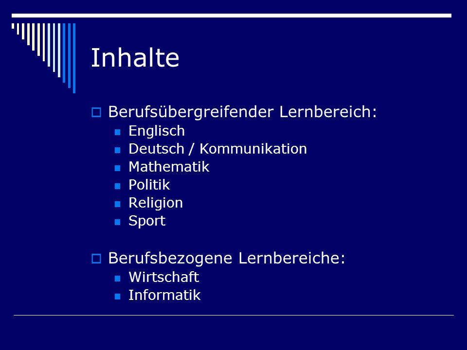 Inhalte Berufsübergreifender Lernbereich: Englisch Deutsch / Kommunikation Mathematik Politik Religion Sport Berufsbezogene Lernbereiche: Wirtschaft I