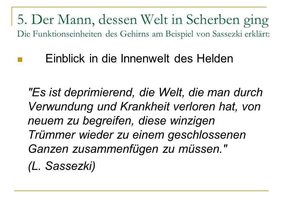 5. Der Mann, dessen Welt in Scherben ging Die Funktionseinheiten des Gehirns am Beispiel von Sassezki erklärt: Einblick in die Innenwelt des Helden