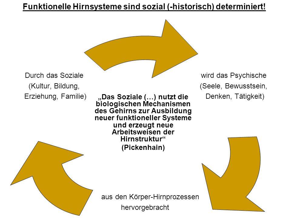 wird das Psychische (Seele, Bewusstsein, Denken, Tätigkeit) aus den Körper- Hirnprozessen hervorgebracht Durch das Soziale (Kultur, Bildung, Erziehung