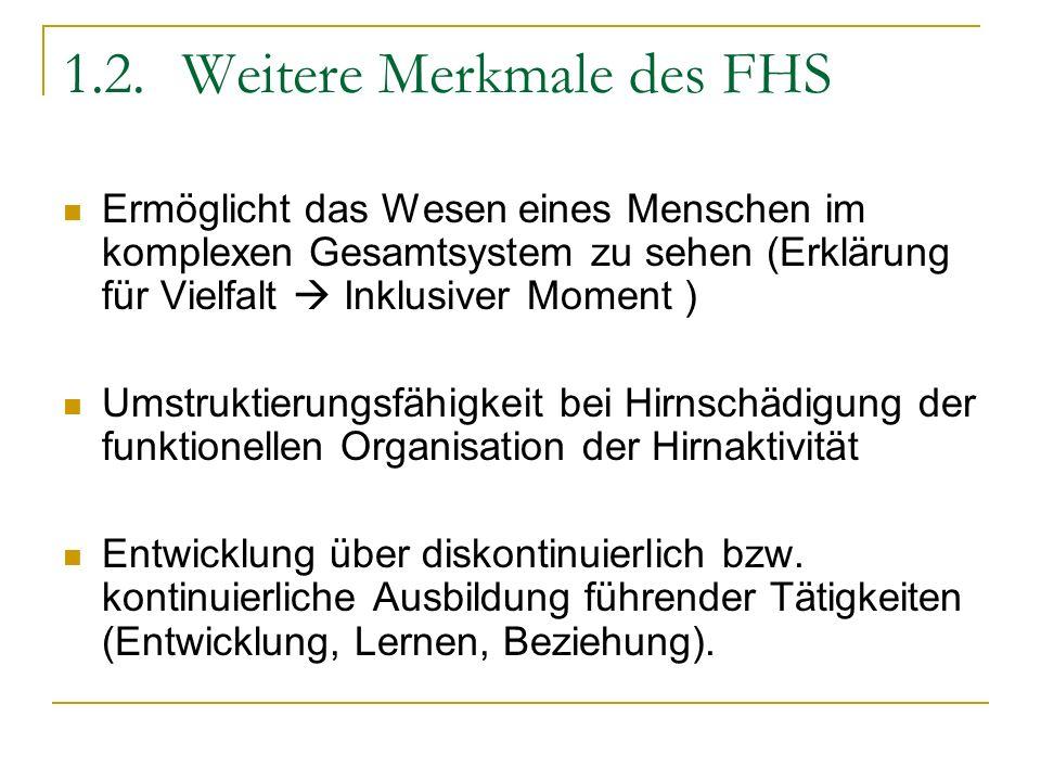 1.2. Weitere Merkmale des FHS Ermöglicht das Wesen eines Menschen im komplexen Gesamtsystem zu sehen (Erklärung für Vielfalt Inklusiver Moment ) Umstr