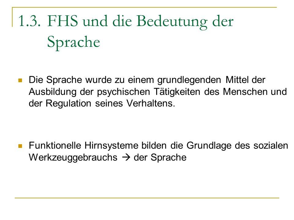 1.3.FHS und die Bedeutung der Sprache Die Sprache wurde zu einem grundlegenden Mittel der Ausbildung der psychischen Tätigkeiten des Menschen und der