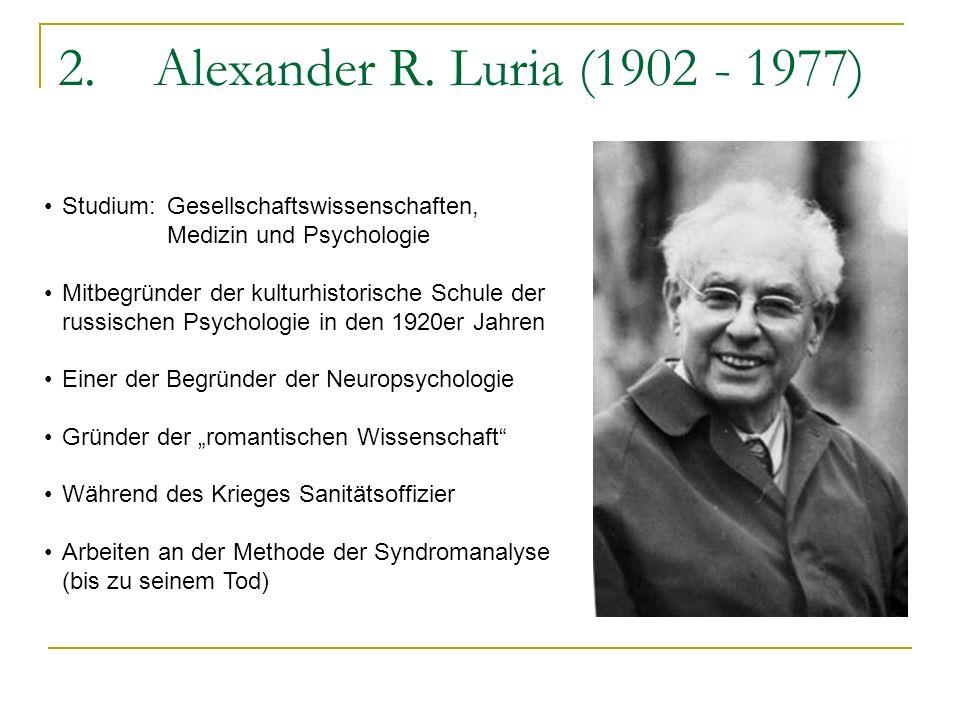 2.Alexander R. Luria (1902 - 1977) Studium:Gesellschaftswissenschaften, Medizin und Psychologie Mitbegründer der kulturhistorische Schule der russisch