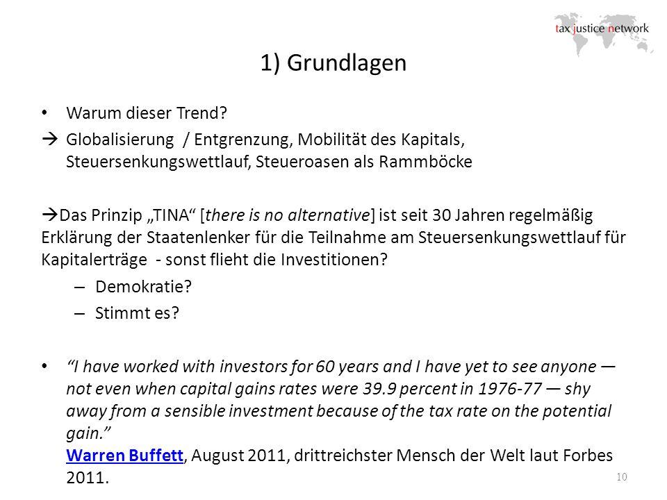 1) Grundlagen 10 Warum dieser Trend? Globalisierung / Entgrenzung, Mobilität des Kapitals, Steuersenkungswettlauf, Steueroasen als Rammböcke Das Prinz