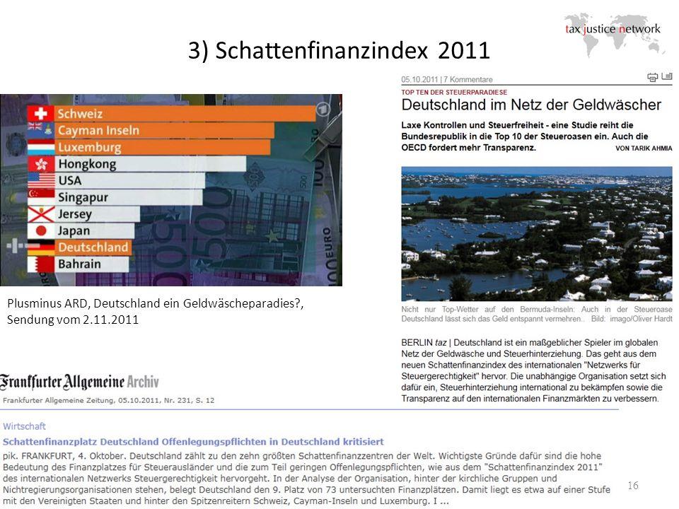 3) Schattenfinanzindex 2011 16 Plusminus ARD, Deutschland ein Geldwäscheparadies?, Sendung vom 2.11.2011