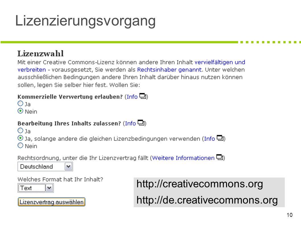 10 Lizenzierungsvorgang http://creativecommons.org http://de.creativecommons.org