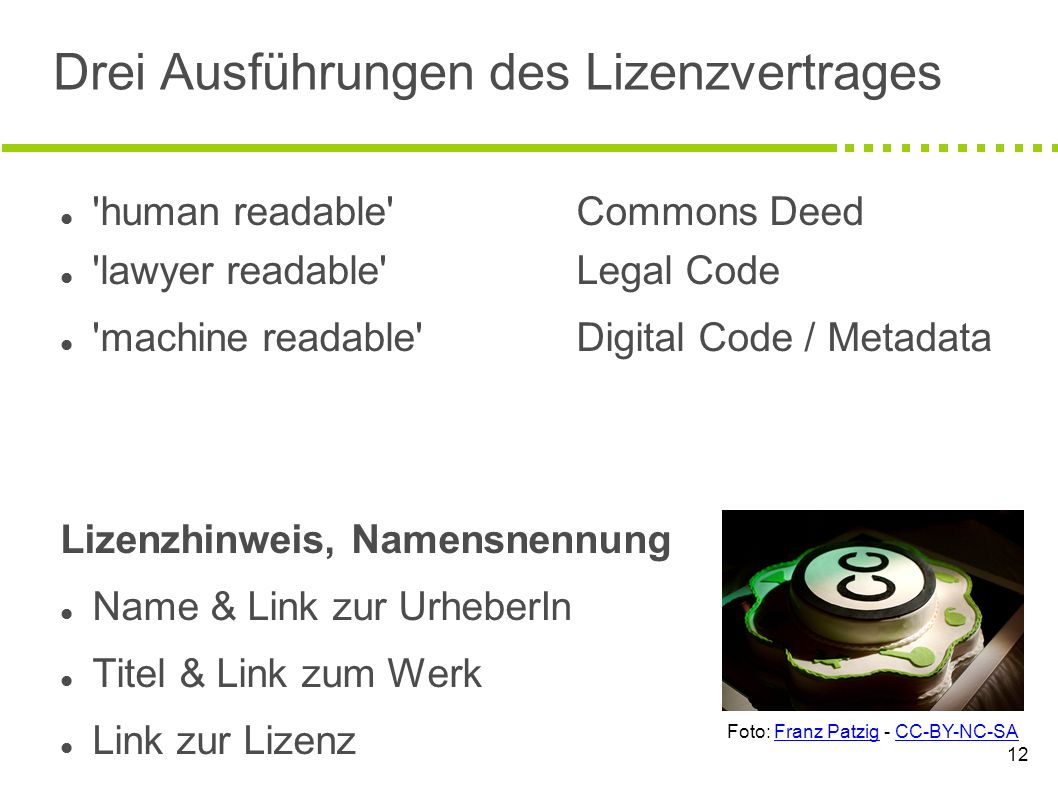 12 Drei Ausführungen des Lizenzvertrages human readable Commons Deed lawyer readable Legal Code machine readable Digital Code / Metadata Lizenzhinweis, Namensnennung Name & Link zur UrheberIn Titel & Link zum Werk Link zur Lizenz Foto: Franz Patzig - CC-BY-NC-SA