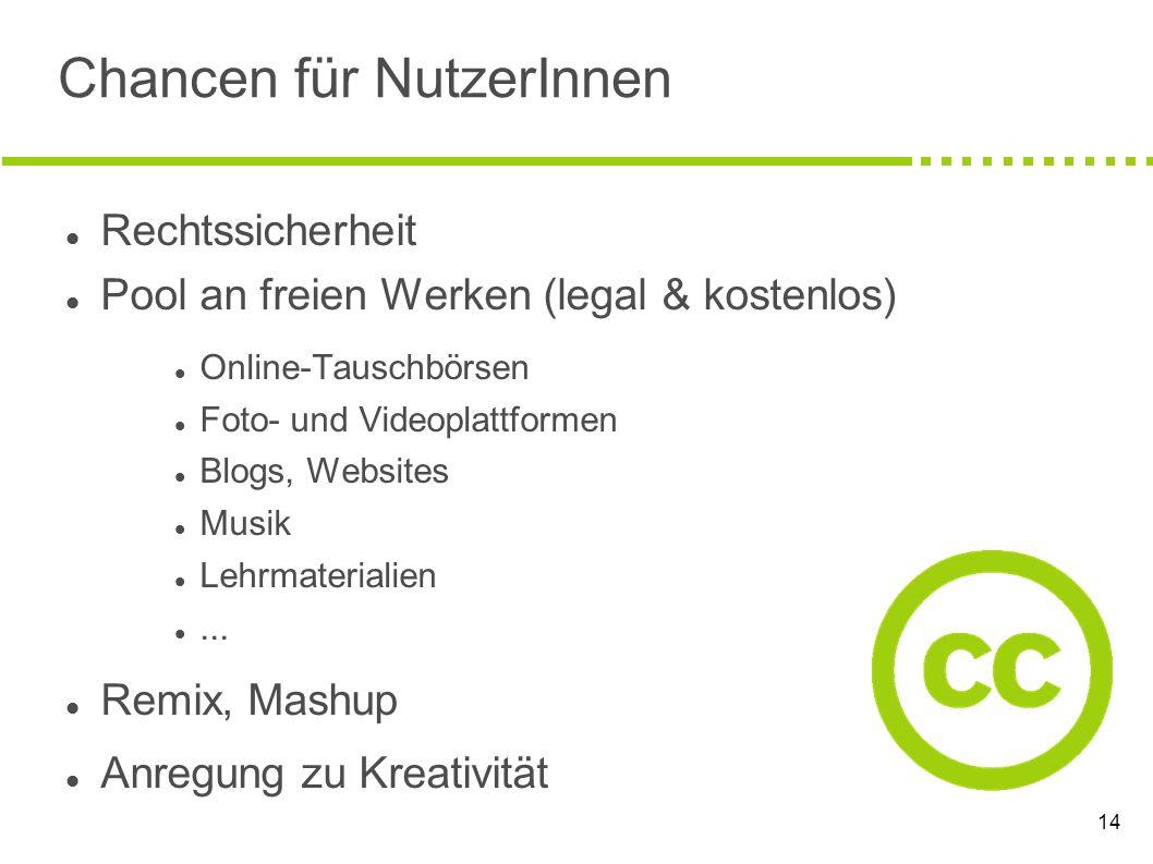 14 Chancen für NutzerInnen Rechtssicherheit Pool an freien Werken (legal & kostenlos) Online-Tauschbörsen Foto- und Videoplattformen Blogs, Websites M