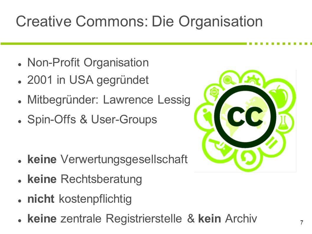 7 Creative Commons: Die Organisation Non-Profit Organisation 2001 in USA gegründet Mitbegründer: Lawrence Lessig Spin-Offs & User-Groups keine Verwert
