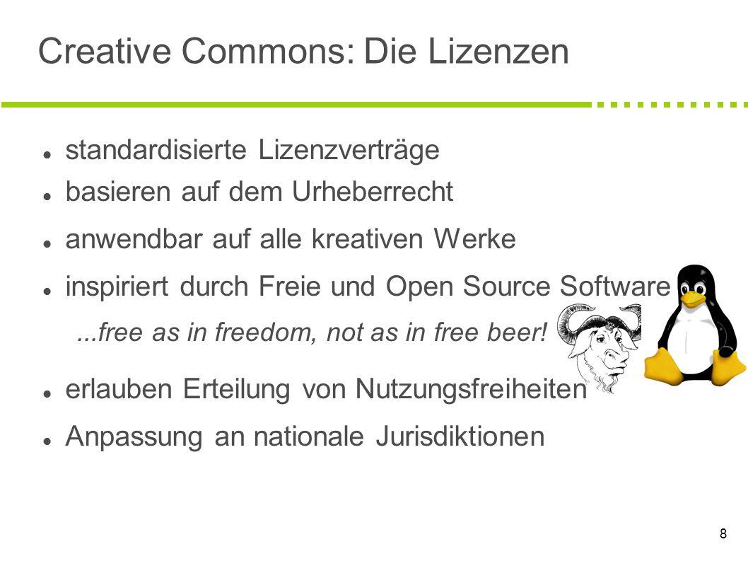 8 Creative Commons: Die Lizenzen standardisierte Lizenzverträge basieren auf dem Urheberrecht anwendbar auf alle kreativen Werke inspiriert durch Frei
