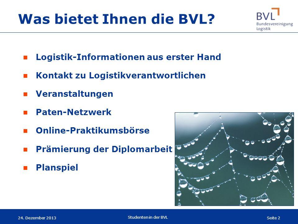 Seite 2 Studenten in der BVL 24. Dezember 2013 Was bietet Ihnen die BVL? Logistik-Informationen aus erster Hand Kontakt zu Logistikverantwortlichen Ve
