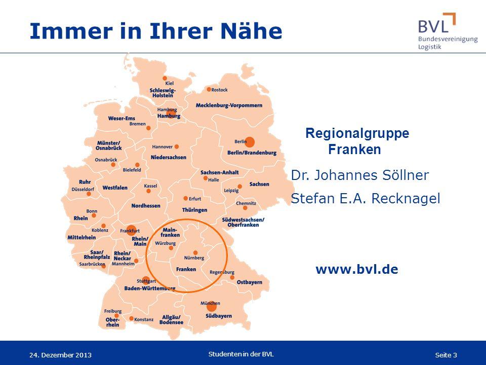 Seite 3 Studenten in der BVL 24. Dezember 2013 Immer in Ihrer Nähe Dr. Johannes Söllner Stefan E.A. Recknagel www.bvl.de Regionalgruppe Franken
