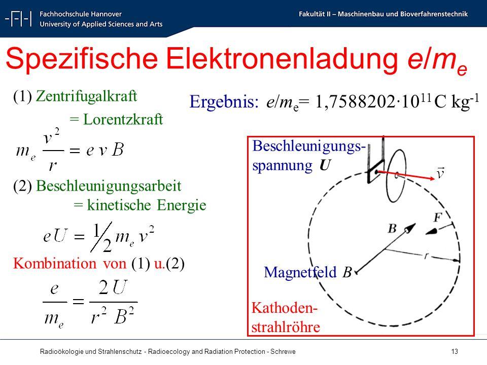 Radioökologie und Strahlenschutz - Radioecology and Radiation Protection - Schrewe 13 Spezifische Elektronenladung e/m e (1) Zentrifugalkraft = Lorentzkraft (2) Beschleunigungsarbeit = kinetische Energie Kombination von (1) u.(2) Beschleunigungs- spannung U Kathoden- strahlröhre Magnetfeld B Ergebnis: e/m e = 1,7588202·10 11 C kg -1