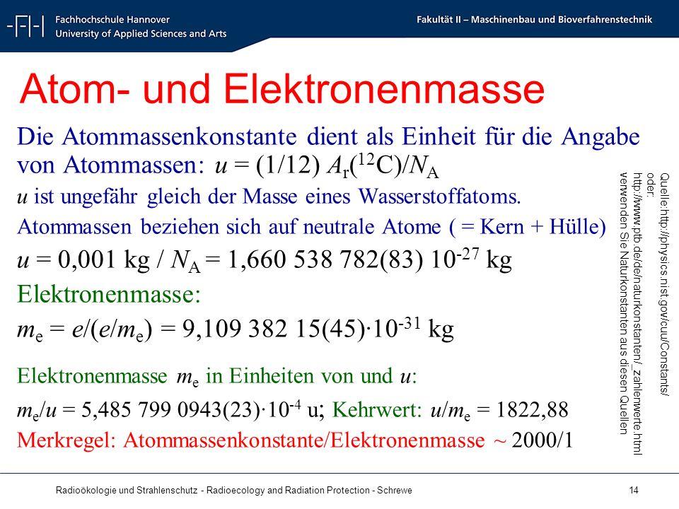 Radioökologie und Strahlenschutz - Radioecology and Radiation Protection - Schrewe 14 Atom- und Elektronenmasse Die Atommassenkonstante dient als Einheit für die Angabe von Atommassen: u = (1/12) A r ( 12 C)/N A u ist ungefähr gleich der Masse eines Wasserstoffatoms.