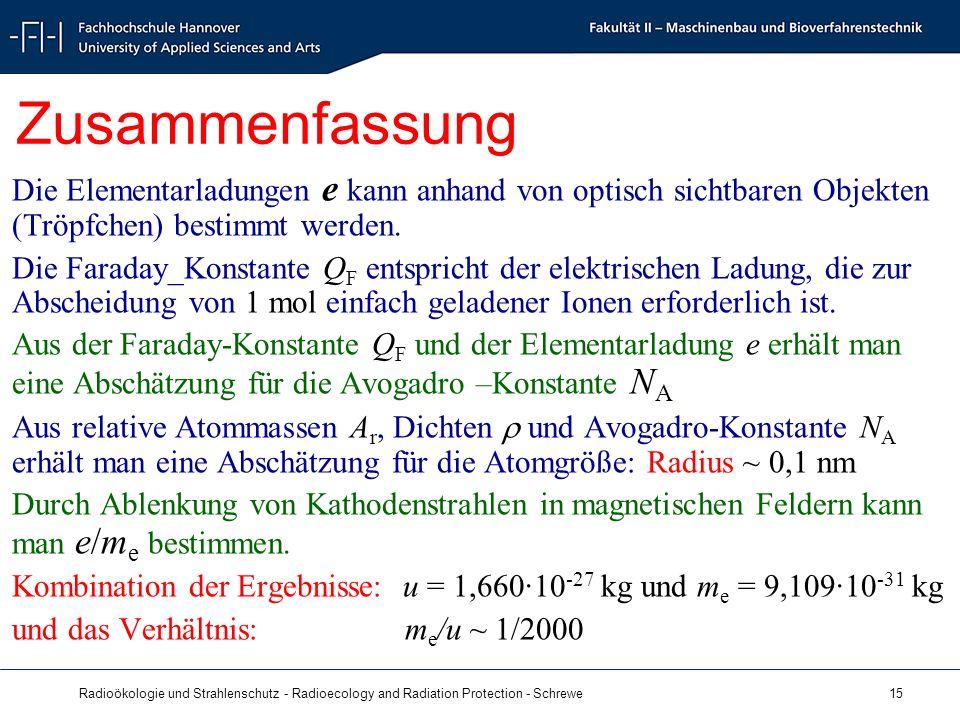 Radioökologie und Strahlenschutz - Radioecology and Radiation Protection - Schrewe 15 Zusammenfassung Die Elementarladungen e kann anhand von optisch sichtbaren Objekten (Tröpfchen) bestimmt werden.