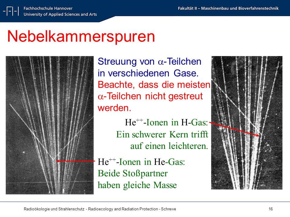 Radioökologie und Strahlenschutz - Radioecology and Radiation Protection - Schrewe 16 Nebelkammerspuren He ++ -Ionen in H-Gas: Ein schwerer Kern trifft auf einen leichteren.