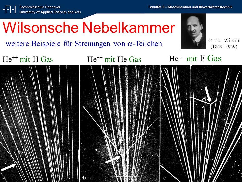 Radioökologie und Strahlenschutz - Radioecology and Radiation Protection - Schrewe 17 Wilsonsche Nebelkammer He ++ mit H Gas He ++ mit F Gas He ++ mit He Gas weitere Beispiele für Streuungen von -Teilchen C.T.R.