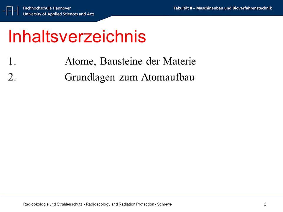 Radioökologie und Strahlenschutz - Radioecology and Radiation Protection - Schrewe 2 Inhaltsverzeichnis 1.Atome, Bausteine der Materie 2.Grundlagen zum Atomaufbau