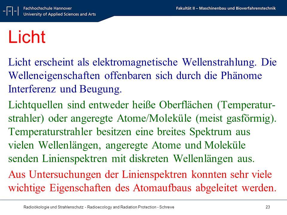 Radioökologie und Strahlenschutz - Radioecology and Radiation Protection - Schrewe 23 Licht Licht erscheint als elektromagnetische Wellenstrahlung.