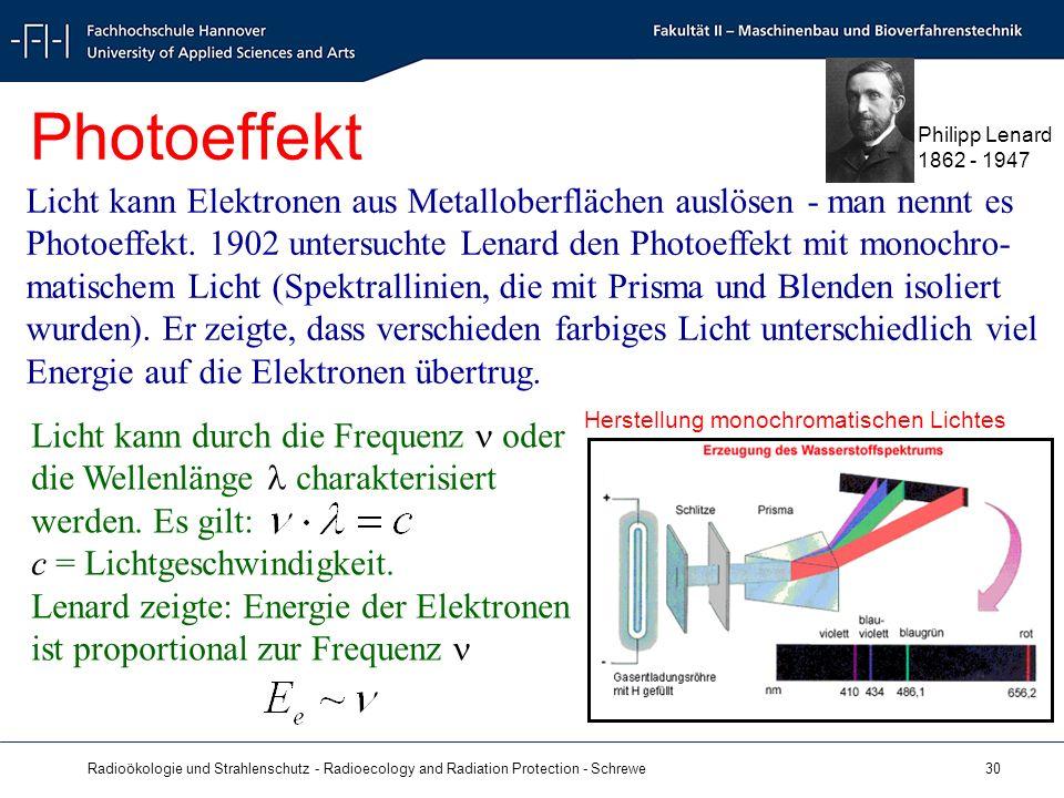 Radioökologie und Strahlenschutz - Radioecology and Radiation Protection - Schrewe 30 Licht kann durch die Frequenz oder die Wellenlänge charakterisiert werden.