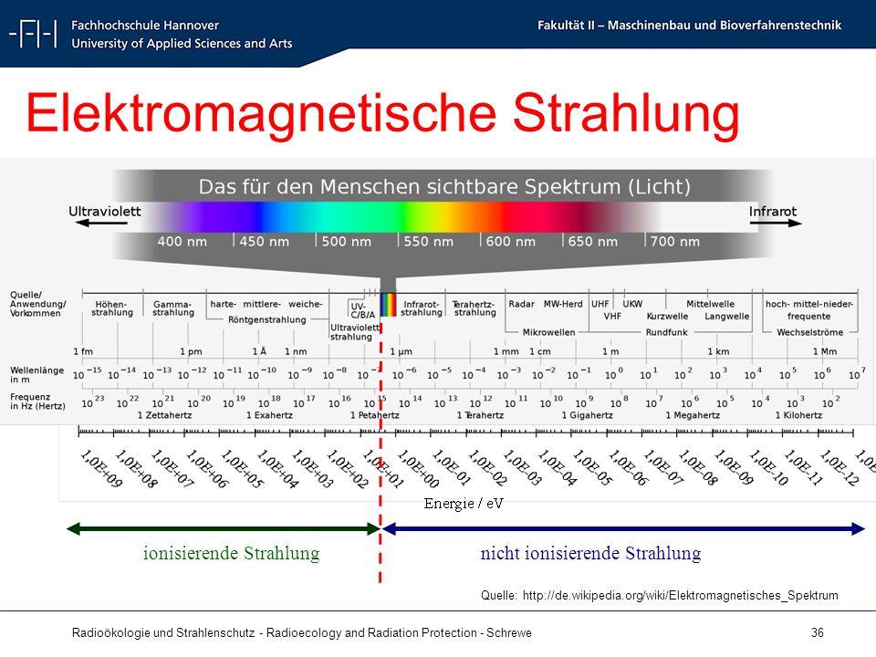 Radioökologie und Strahlenschutz - Radioecology and Radiation Protection - Schrewe 36 Elektromagnetische Strahlung ionisierende Strahlungnicht ionisierende Strahlung Quelle: http://de.wikipedia.org/wiki/Elektromagnetisches_Spektrum